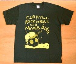 画像1: かわいしのぶ 『Tシャツ ☆CURRY and ROCK'N ROLL will NEVER DIE!!-ネイビー』